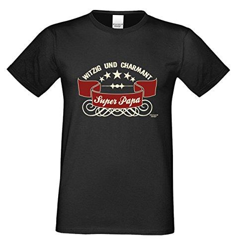 Vatertagsgeschenk T-Shirt Geschenkidee Motiv Super Papa Geburtstagsgeschenk auch in Übergrößen Freizeit-Oberteil Farbe: schwarz Schwarz