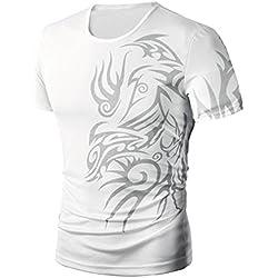 Tefamore Camiseta Hombre De Manga Corta Impresión De La Moda Del Verano (Tamaño:L, Blanco)