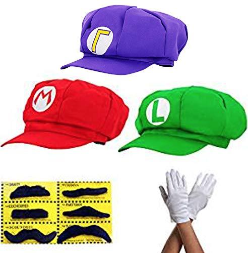 thematys Super Mario Mütze Luigi Waluigi - 3er Kostüm-Set für Erwachsene & Kinder + 3X Handschuhe und 6X Klebe-Bart - perfekt für Fasching, Karneval & Cosplay - Klassische Cappy - Luigi Und Waluigi Kostüm