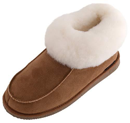 Lambland Damen/Damen Full Schaffell Chestnut Slipper Stiefel mit Pelz Manschette und haltbare Sohle, Braun - Chesnut - Größe: 42 2/3 - Pelz-manschette Bootie