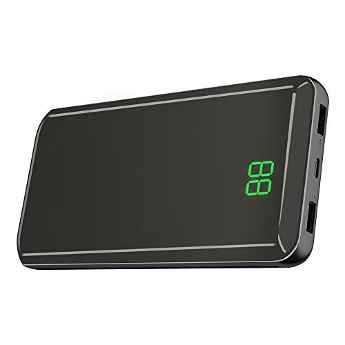 Powerbank X-DRAGON 24000mAh Externer Akku USB C & Micro Input Handy Ladegerät mit Spiegel Oberfläche, Digi-Power Display für iPhone X/8/8 Plus/7/6s/6 Plus, iPad, Smartphone, Huawei, Samsung und Tablet