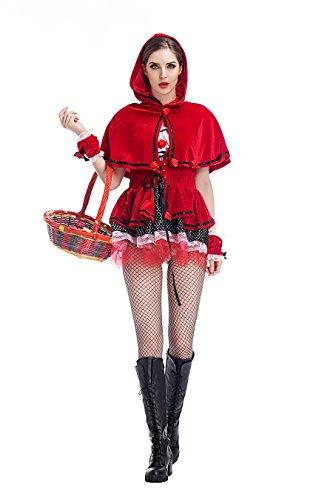 Red Halloween Frauen Hood Little Riding Kostüme (Frauen Kleine Red Halloween Kostüm)