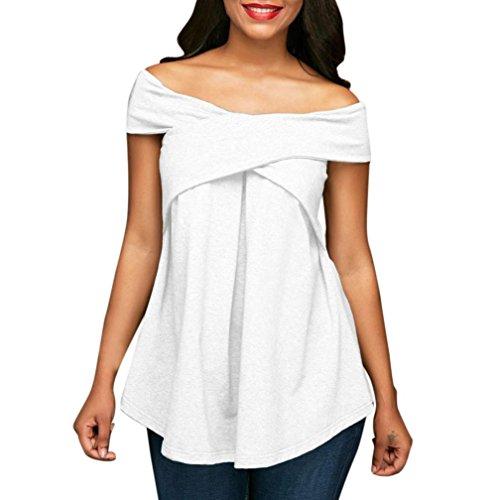 Hevoiok Damen Kurzarm Tops Schulterfrei Falten Shirt Casual Bluse Mode Sommer Frühling T-Shirt (Weiß, L)