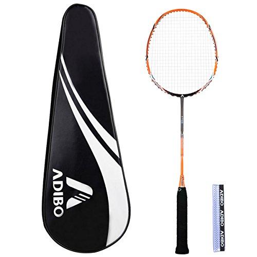 Federballschläger Set, Adibo Ultra-Licht Schlanke Carbon Shaft Badmintonschläger Badminton Racket mit Tragetasche Griffband für Outdoor Indoor Sports--Angriffstyp