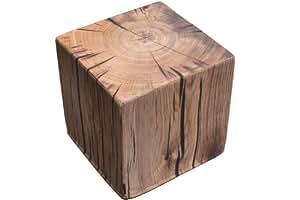 Insula Sana Pouf cube en bois Chêne 45 x 45 x 45 cm