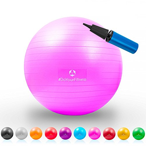 Ballon de gymnastique »Pluto« / ballon siège et ballon de fitness robuste de 75 cm / rose