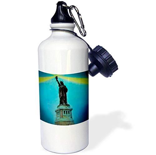 der Vergangenheit Magische Laterne, Vintage-Statue, Liberty 1910, handbemalt, magische Laterne, New York, Sport-Trinkflasche, Edelstahl, isolierend, Cup Biking, Camping, 535 ml ()
