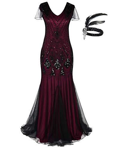 Frauen 1920er Jahre Long Abendkleid Perlen Pailletten Meerjungfrau Hem Ball Abendkleid mit Ärmel Stirnband frei (M, Rot Schwarz)