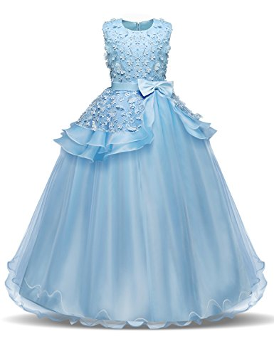 NNJXD Madchen Armellos Stickerei Prinzessin Festzug Kleider Abschlussball Ballkleid, Blau, 7-8 Jahre / Herstellergröße: 130 - Kleid Mädchen Blau