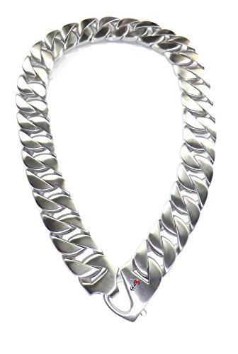 MARSOXX Herrenschmuck Panzer Halskette Breit Silber Matt aus Edelstahl