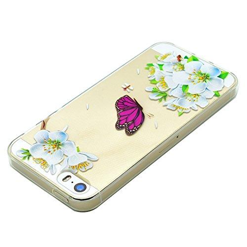 Schutzhülle iPhone 7 Plus 5.5 Zoll Case, iPhone 7 Plus Handyhüllen, iPhone 7plus Silikon Cover, Moon mood® Soft Schutzhülle für Apple iPhone 7 Plus Ultra Thin Dünn Weiche TPU Schutz Etui Cover, iPhone 1-Purple Butterfly