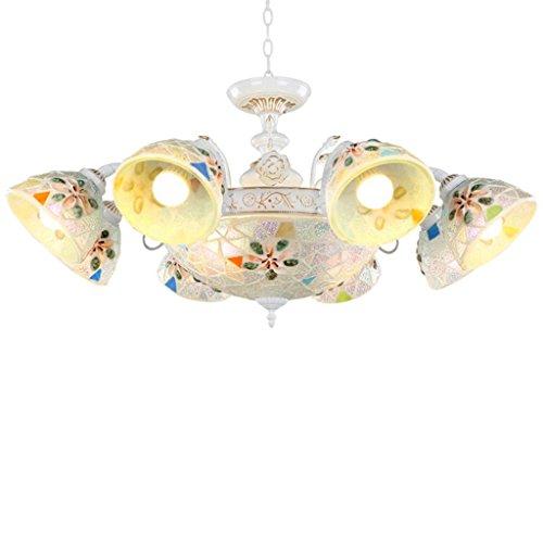 8 Light Nickel Hängen (Kronleuchter Schalen Wohnzimmer Schlafzimmer Restaurant Glas Kronleuchter Europäische pastorale natürliche Schale Beleuchtung Kunst Kronleuchter Saug hängen Dual-Use-Kronleuchter Energiesparlampe 8)