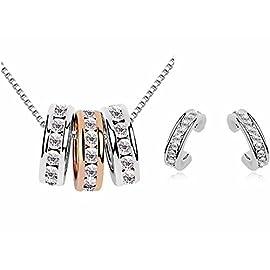 korpikus® Jewel Encrusted 3 Ring Crystal Metal 'Hoops' Necklace Pendant With FREE Matching Earrings & Organza Gift Bag!