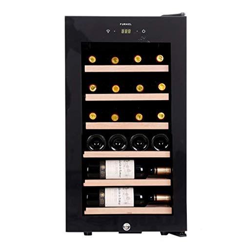 Schwarz Thermoelektrische Weinkühler (Thermostat cabinet Sonw Yang Weinkühler-freistehender Weinkeller-Kompressor Wein- und Zigarren-Kühlschrank mit digitaler Temperaturanzeige, mit Griff, Schiebegestell aus Reiner Eiche, schwarz)