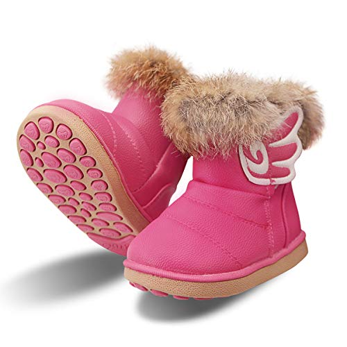 Botas de Nieve Niñas Infantiles Invierno Zapatos Anti Deslizante 20 EU/Etiqueta 21, Rosa