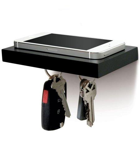 Plank - Mini-Regal und Sclüsselhalter (Schwarz)