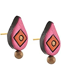 Zephyrr Jewellery Handmade Painted Terracotta Drop Shaped Stud Earrings