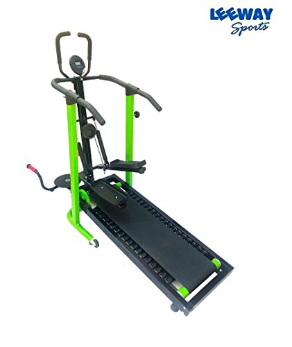 Manual Jogger Treadmill 4 in 1 by Leeway| Roller Jogging Machine For Home| Foldable Tread Mill| Multifunction Walking and Jogging Running Exercise Machines|Lifeline Cardio Excersice- (GREEN)  available at amazon for Rs.15499