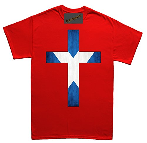 Renowned Cross with Scotland Flag inside Herren T Shirt Rot