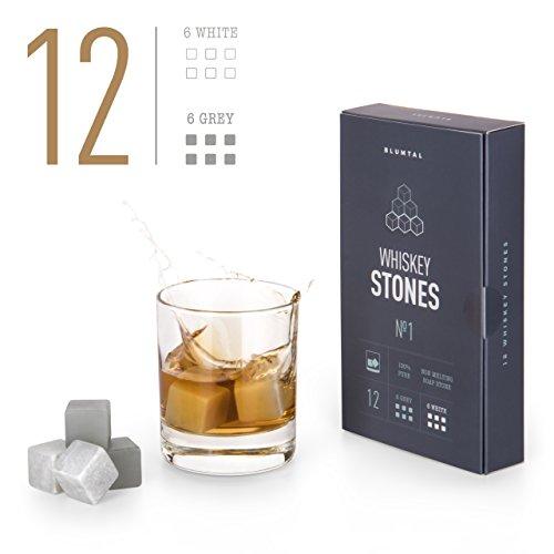 12 Whisky Steine Aus Natürlichem Speckstein Zum Kühlen Von Whiskey | Geschenke Für Whiskyliebhaber | Wiederverwendbare Eiswürfel | Whiskyzubehör | Kühlwürfel | Bar Accessoires | von Blumtal