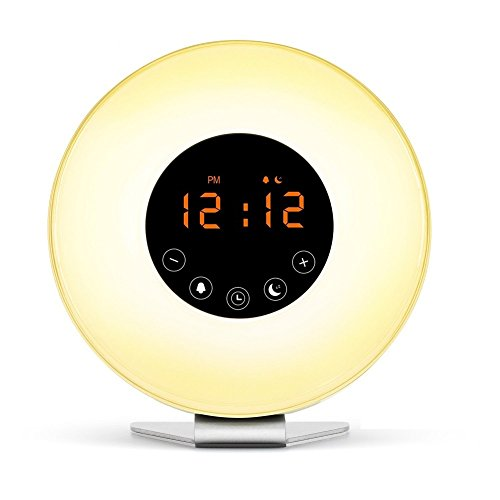 Friencity Wake Up Light Alarm Clock with Sunrise Sunset Simulation, FM Radio, 7 Multi-Color LED Mood Light Changes, 6 Nature Sounds and Touch Control Snooze Function Bedside Lamp
