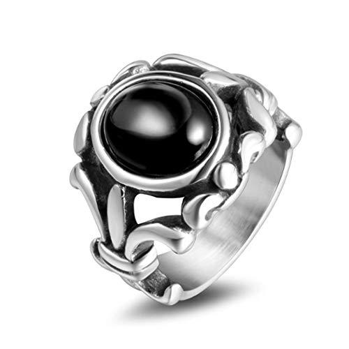 Yoyoyaya anello man titanio acciaio agata artificiale cava out scultura in acciaio inox donna amante gioielli squisita dono,dieci