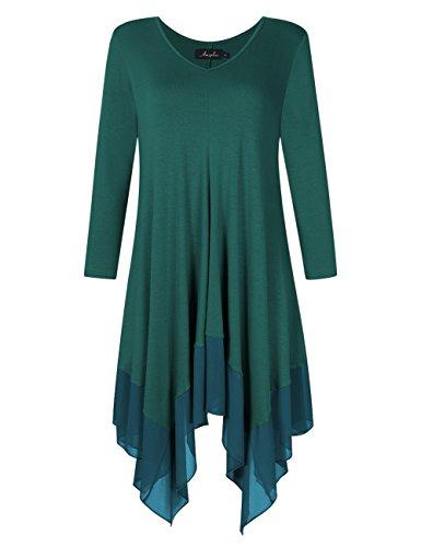 KoJooin Damen Plus Size Asymmetrische Lässige Longshirt Chiffon Bluse Oversize T Shirt Casual Tunika Top Grün Dunkelgrün Langarm XXL