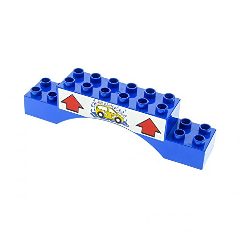 duplo waschanlage 1 x Lego Duplo Burg Tor Bogen Stein blau 2 x 10 x 2 bedruckt Auto Waschanlage Brücke 2x10x2 für Set 5696 51704pb04