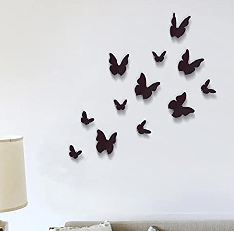 Wall Stickers Black 3D Butterfly Wall Art Murals Removable Self-Adhesive Decals Nursery Kindergarden Kids Room Restaurant Cafe Hotel Office Home