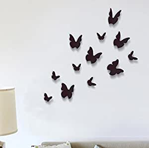 Wall stickers black 3d butterfly wall art murals removable for Decoration murale papillon 3d