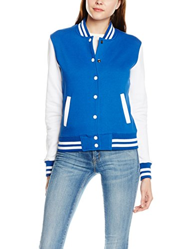 Urban Classics Ladies 2-Tone College Sweatjacket, Felpe Donna, Violett (Roy/Wht 204), S
