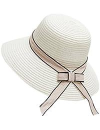 Samber Sombreros Paja de Verano para Mujer Sombreros de Playa para el Sol  Gorros con Lazo 44cd2895f49