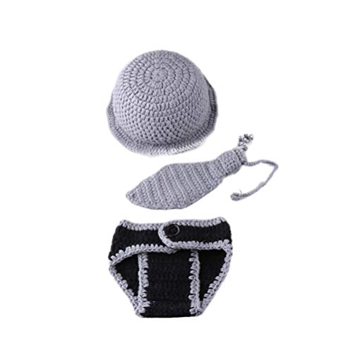 YeahiBaby Neugeborene Fotografie Outfits Gentleman Kostüm Bekleidungsset Baby Stricken Fotografie Requisiten