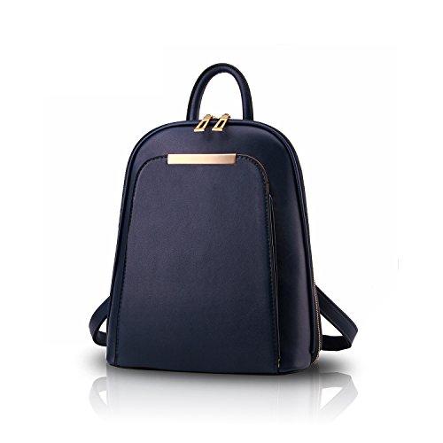 Sunas Sacchetto del sacchetto del sacchetto di cuoio di svago delle donne di corsa del sacchetto di spalla dello zaino di modo delle nuove donne Blu scuro
