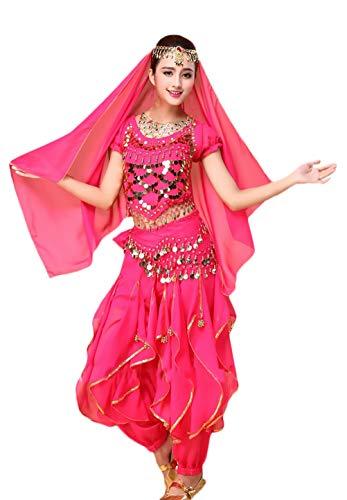 Saoye Fashion Damen Bauchtanz Kostüm Indischen Tanz 4-Teilig Mit Goldene Pailletten Mädchen Kleidung Oberteil Schleier Hüfttuch Hose Belly Indian Dance Costumes Fasching Kostüme