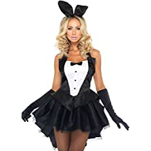 FAVOLOOK Playboy Bunny Costume, Sexy Fancy Dress Adult Ladies Black Rabbit Ear Dress Outfit For Easter/Halloween/Christmas/Party Size S-XXL