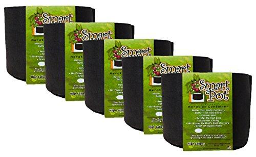 Smart Pot Soft-Sided Tissu de Conteneur de Jardin Pots de Fleurs d'aération, 1 Gallon, Lot de 5, Noir