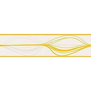 Swing Line Borte Bordüre Retro A.S. Création 93477-2 934772 Streifen mordern weiß gelb von AS Creation - TapetenShop