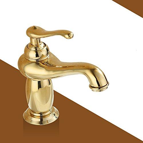 LHbox 0 K Bell Grand Counter Kupfer Gold und Kalten Wasserhahn im Waschbecken im Bad Blau gefliesten Wasserhahn, Golden Classic Standard) -