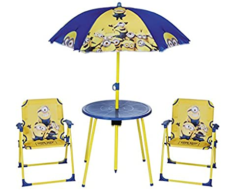Despicable Me Minions Kid's Outdoor Garden Patio Picnic Table & Chair Set for Children & Toddlers, 4pc