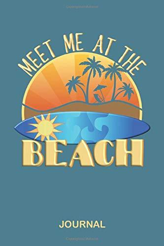 Meet Me At The Beach Journal: Blank Lined Surfer Notebook