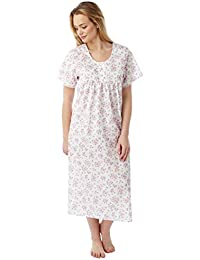 Ladies Marlon Poly Cotton Floral Sprig LONG LENGTH Nightdress Nightie MN145 923075a67