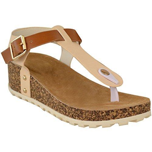 Neuf Femmes Compensé Sandales Confort Matelassé Tongs Semelle Chaussures Pointure