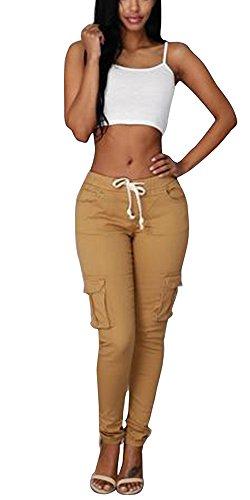 Outgobuy Womens Beiläufige Ausdehnung Drawstring-dünne Hosen-Ladung-Jogger-Hosen (L, Gelb) (Cargo-badeanzug)