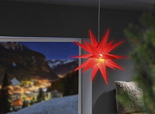 3D Leuchtstern / mit warm-weißer LED Beleuchtung / für Innen und Außen geeignet (IP44) / hängend / 7,5 m Zuleitung (Rot)