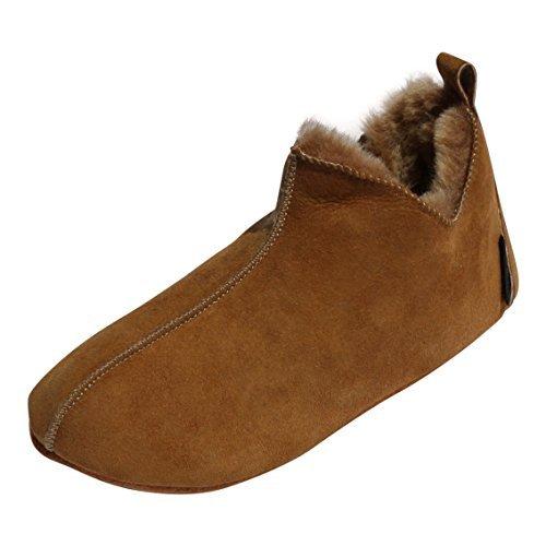 Hollert Lammfell Hausschuhe - Bali Fellschuhe Lederschuhe Bettschuhe Schuhgröße EUR 43, Farbe Cognac