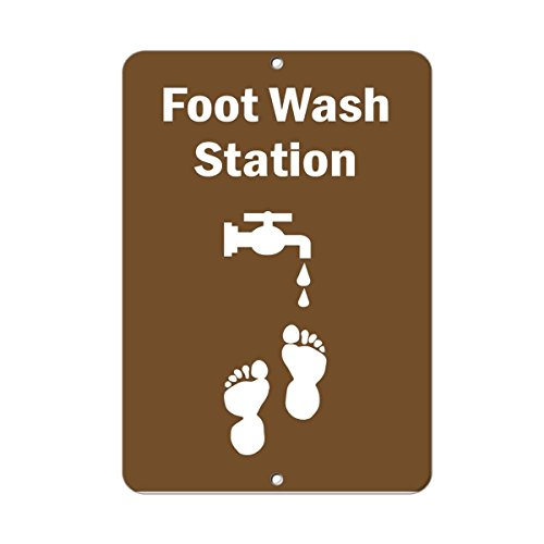 Tin Sign Fashion Foot Wash Station Activity Sign Park Signs Metal Aluminum Sign Wall Plaque for Indoor Outdoor 7.8x11.8 Inch - Park Station