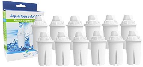 Aquahouse AH-PBC-Filterkartuschen, kompatibel mit Tischwasserfilter Brita Classic, Kenwood, Laica, PearlCo, Dafi, Mavea 107007, Universal-Filterkartuschen für konventionelle Wasserfilter, 12 Stück