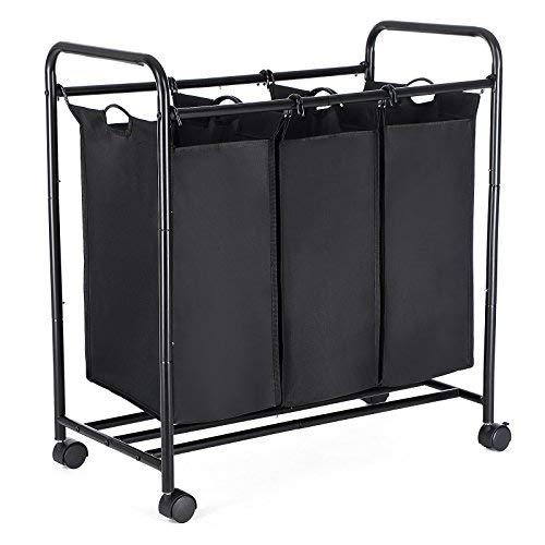 SONGMICS Wäschekorb, Wäschesammler mit 3 abnehmbaren Stofftaschen, Wäschebehälter auf Rollen, Wäschesortierer, stabil, 3 x 44 Liter, Schwarz LSF003B
