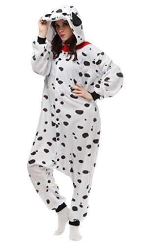 Aivtalk Tier Onesie Jumpsuits Kostüm Pyjama Schlafanzug Fasching Karneval Cartoon Cosplay Fleece-Overall Hausanzug Erwachsene Unisex Kigurumi Tieroutfit - Beschmutzter (Kostüme Lustige Hund)